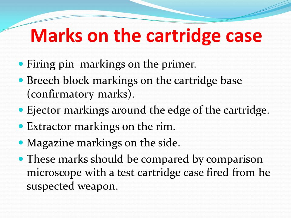 Marks on the cartridge case