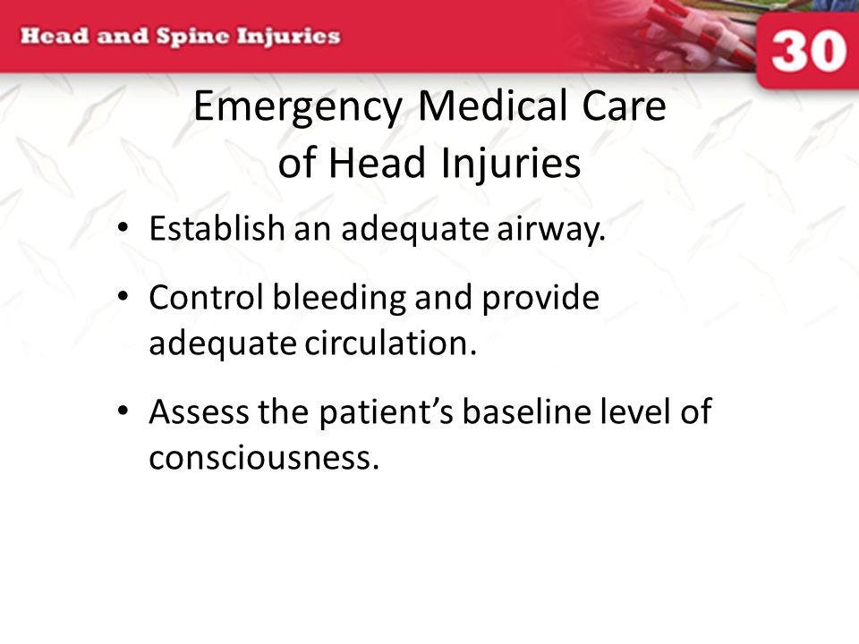 Emergency Medical Care of Head Injuries