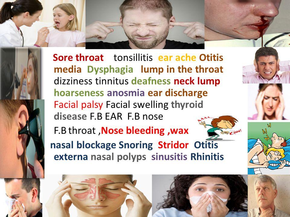 Sore throat tonsillitis ear ache Otitis media Dysphagia lump in the throat dizziness tinnitus deafness neck lump hoarseness anosmia ear discharge Facial palsy Facial swelling thyroid disease F.B EAR F.B nose