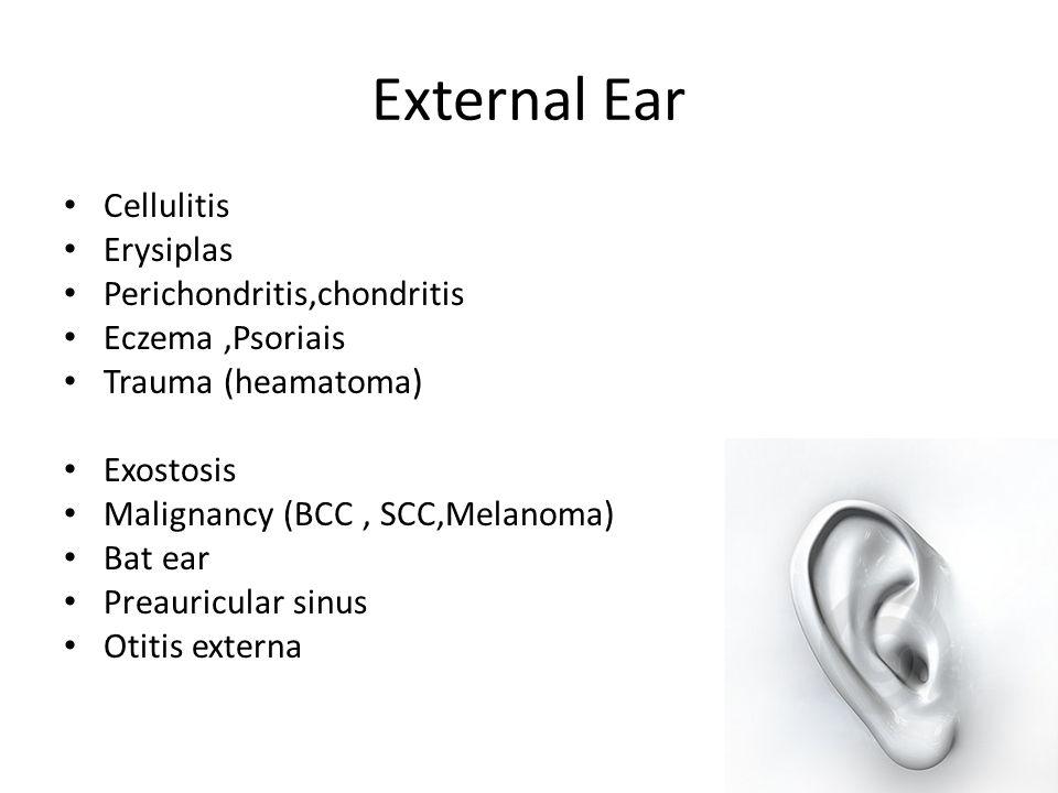External Ear Cellulitis Erysiplas Perichondritis,chondritis
