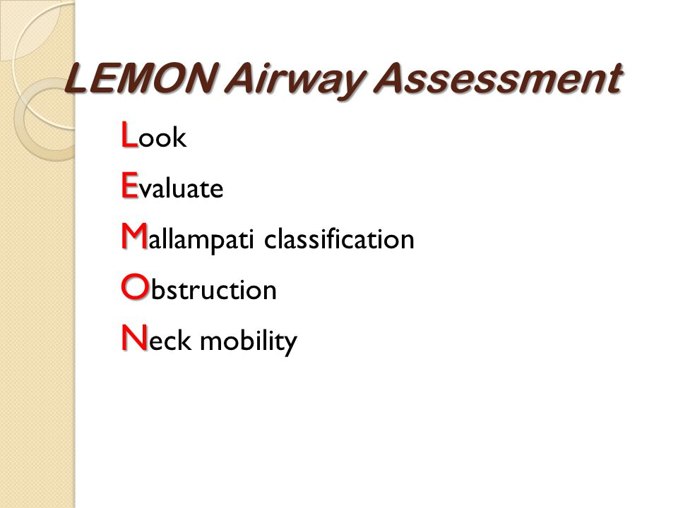 LEMON Airway Assessment