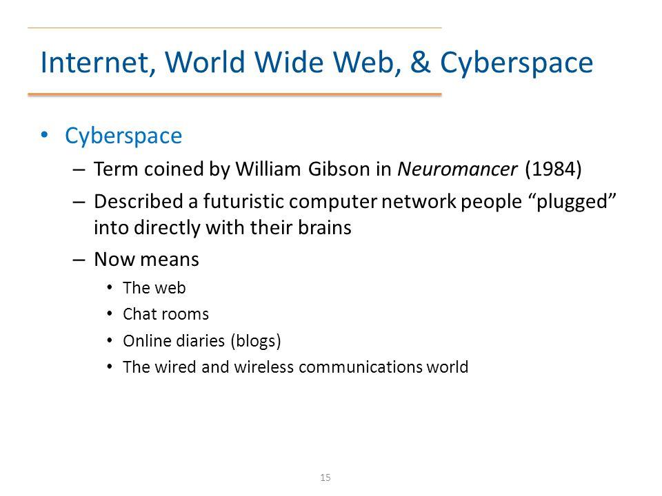 Internet, World Wide Web, & Cyberspace
