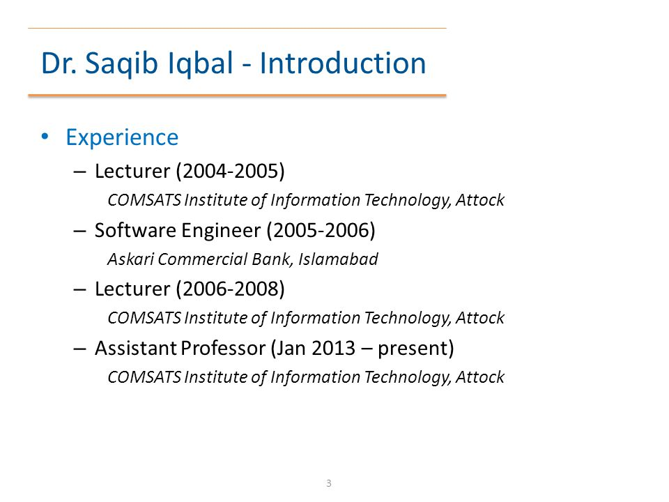Dr. Saqib Iqbal - Introduction