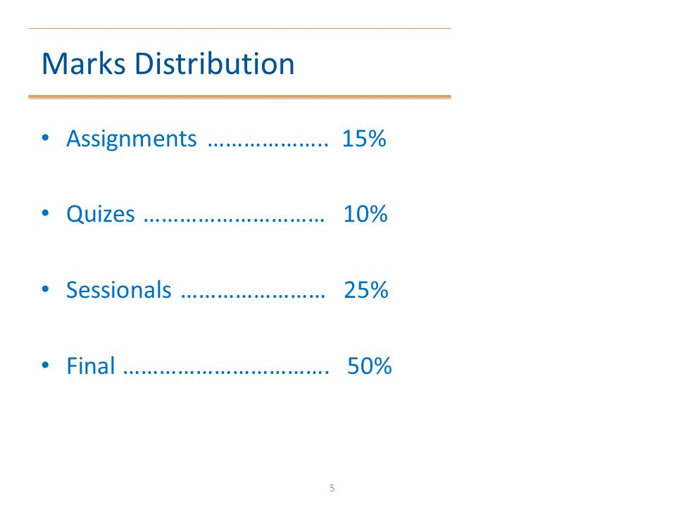 Marks Distribution Assignments ……………….. 15% Quizes ………………………… 10%