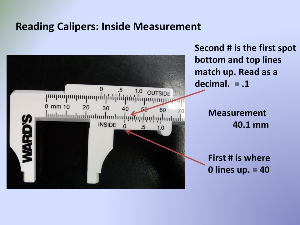 Reading Calipers: Inside Measurement