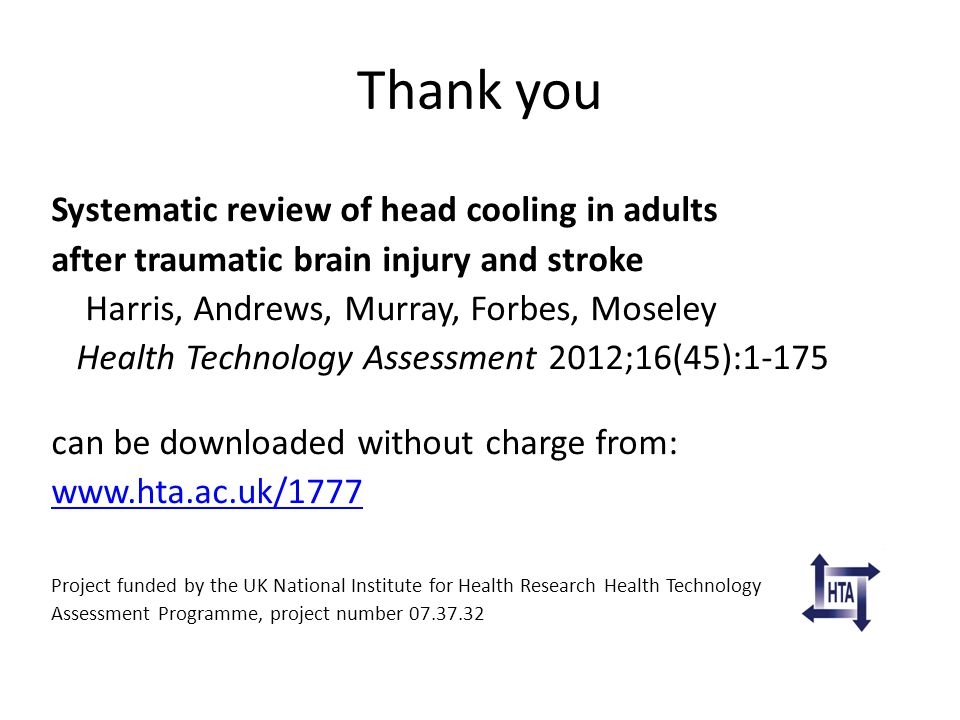 Thank you Systematic review of head cooling in adults