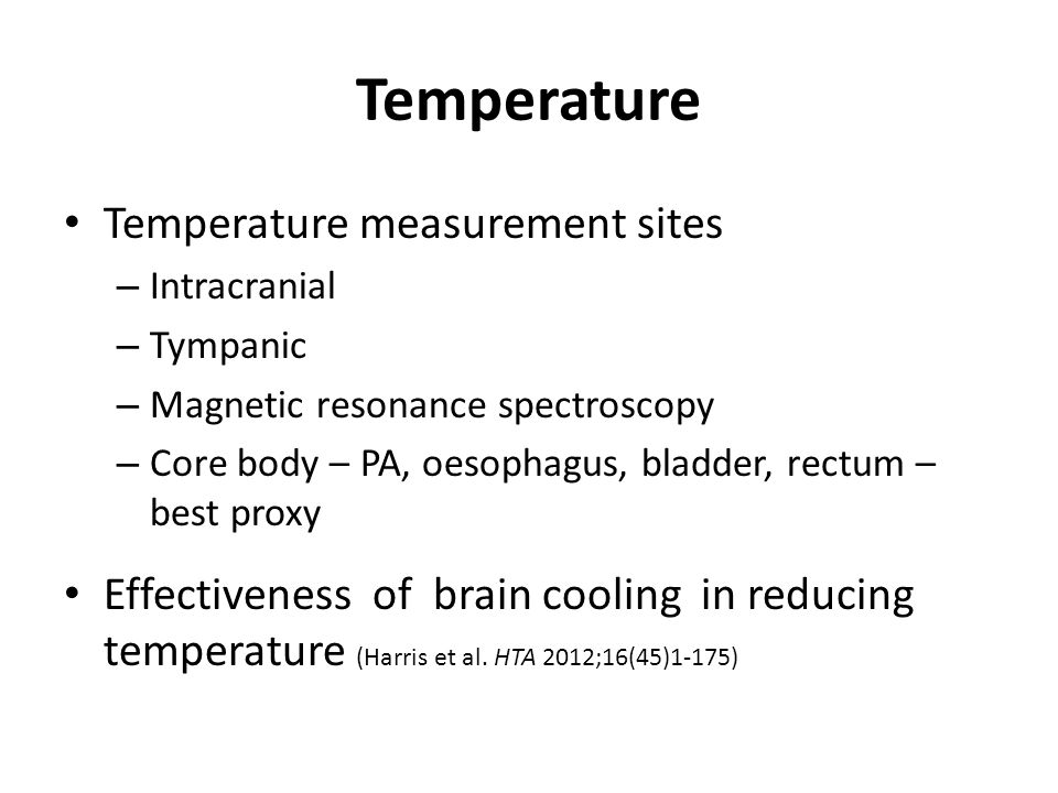 Temperature Temperature measurement sites