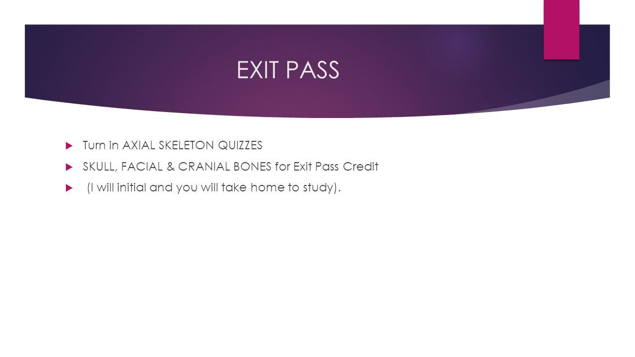 EXIT PASS Turn in AXIAL SKELETON QUIZZES
