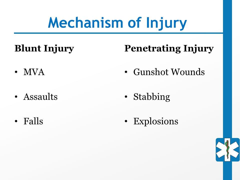 Mechanism of Injury Blunt Injury Penetrating Injury MVA Assaults Falls