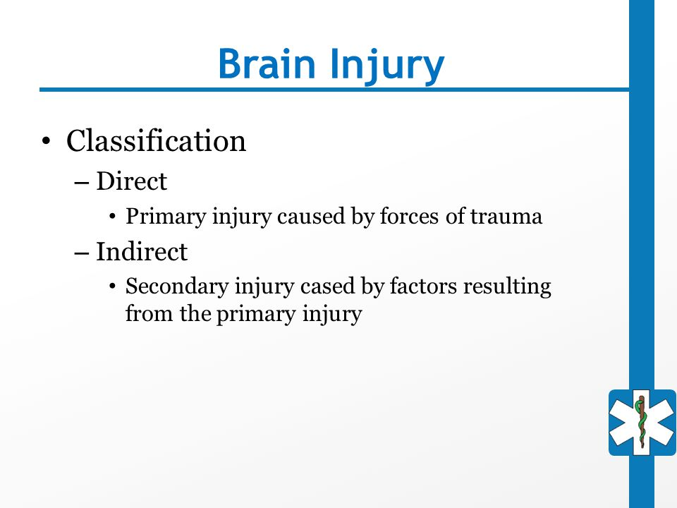 Brain Injury Classification Direct Indirect