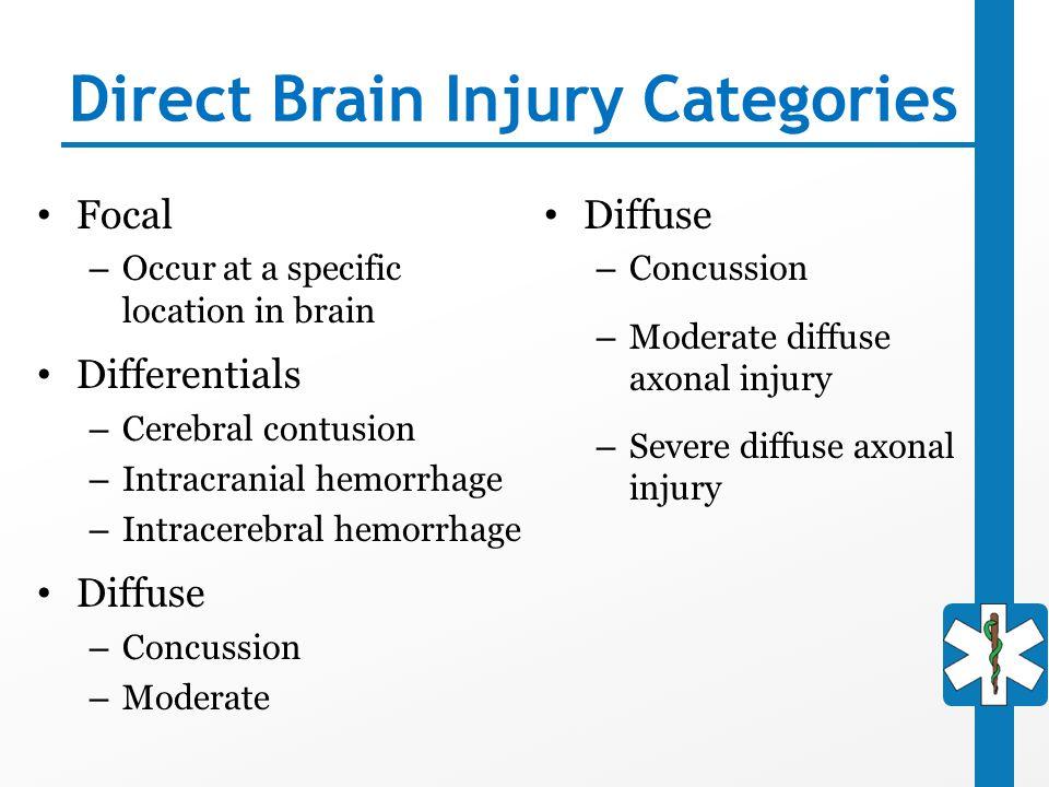 Direct Brain Injury Categories
