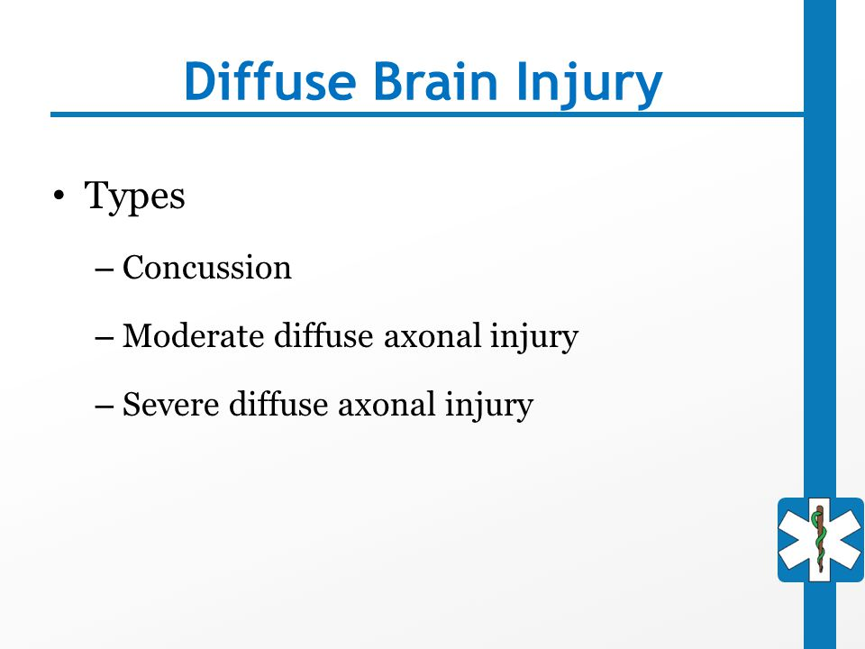 Diffuse Brain Injury Types Concussion Moderate diffuse axonal injury