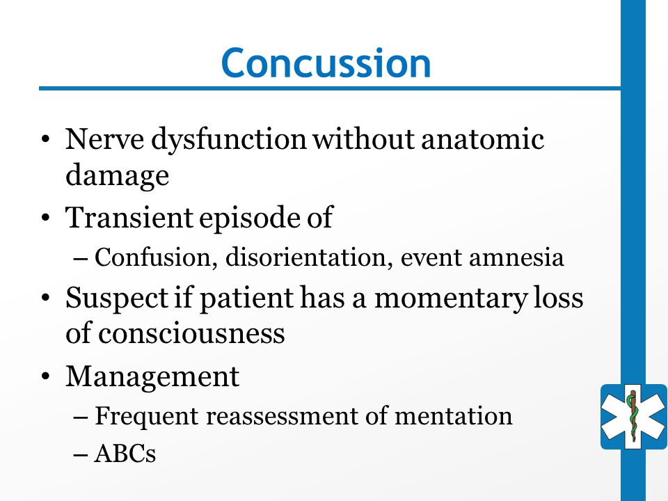 Concussion Nerve dysfunction without anatomic damage