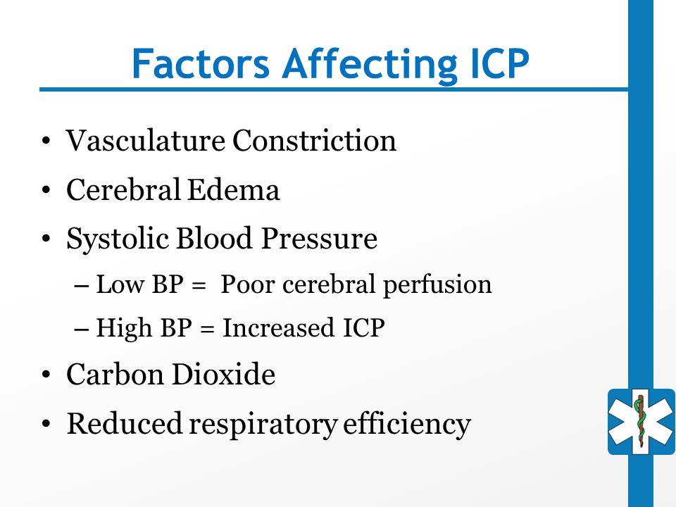 Factors Affecting ICP Vasculature Constriction Cerebral Edema