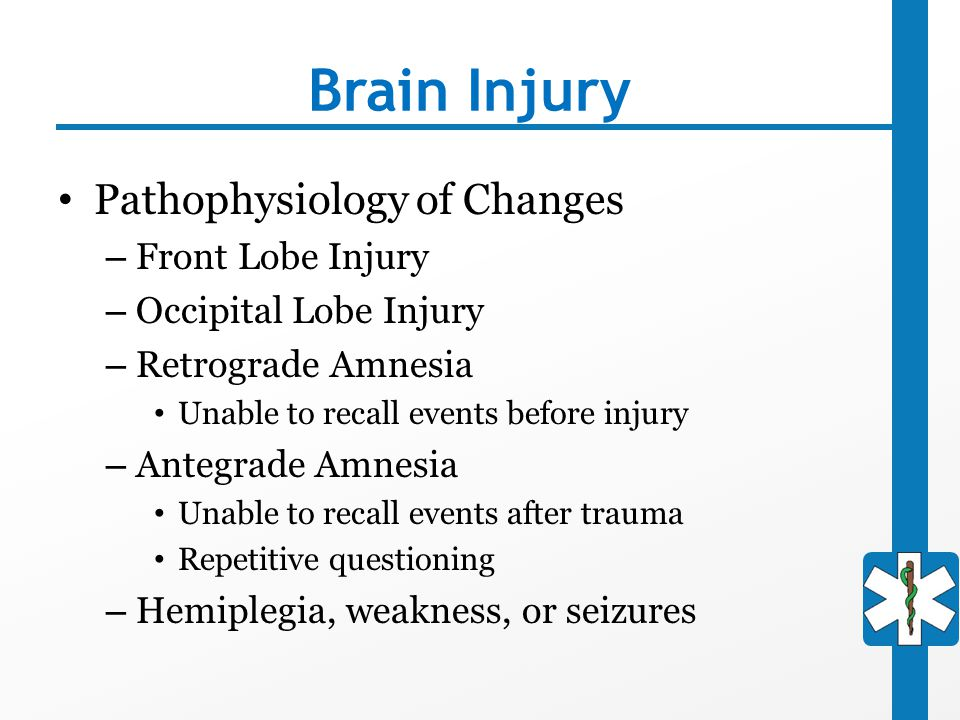Brain Injury Pathophysiology of Changes Front Lobe Injury