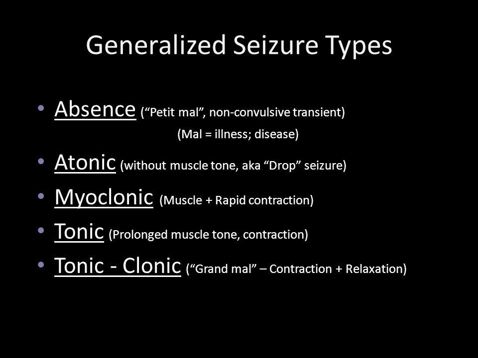 Generalized Seizure Types