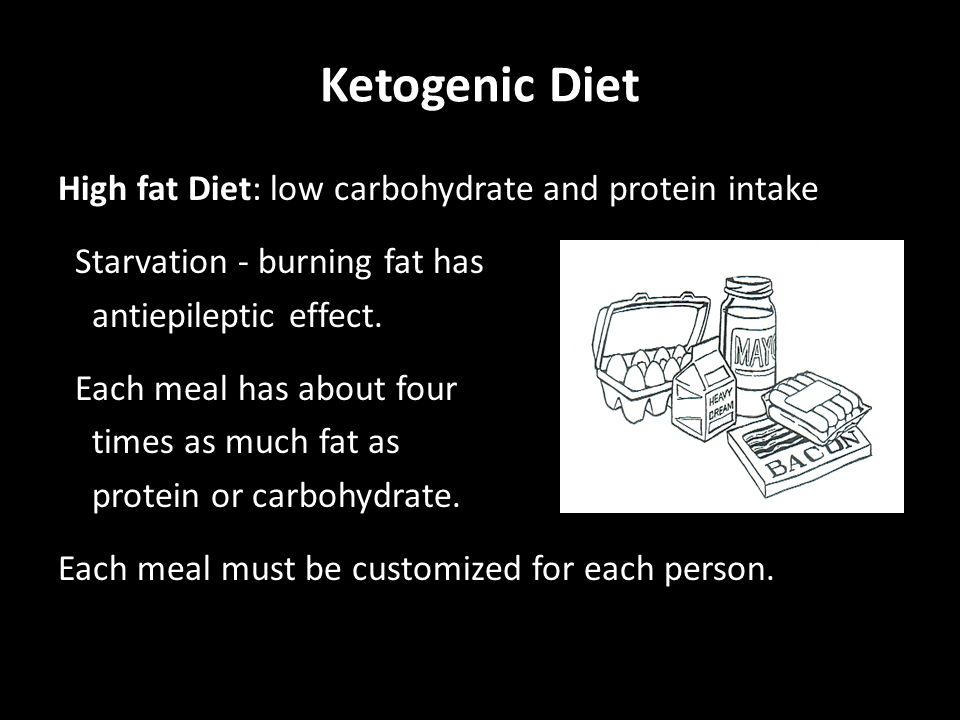 Ketogenic Diet High fat Diet: low carbohydrate and protein intake