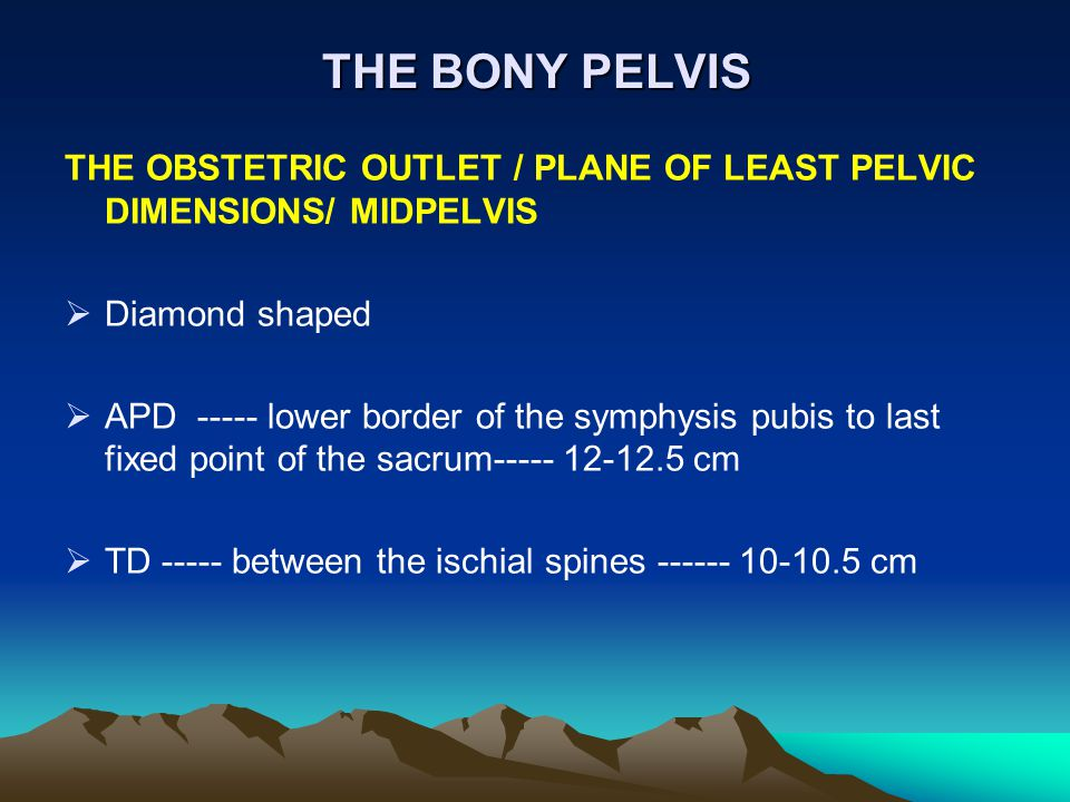 THE BONY PELVIS THE OBSTETRIC OUTLET / PLANE OF LEAST PELVIC DIMENSIONS/ MIDPELVIS. Diamond shaped.