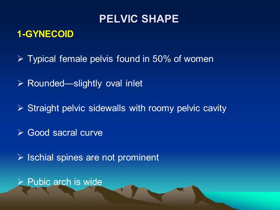 PELVIC SHAPE 1-GYNECOID Typical female pelvis found in 50% of women