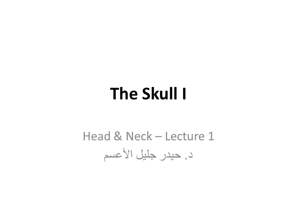 Head & Neck – Lecture 1 د. حيدر جليل الأعسم