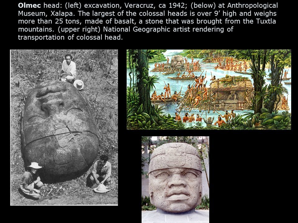 Olmec head: (left) excavation, Veracruz, ca 1942; (below) at Anthropological Museum, Xalapa.