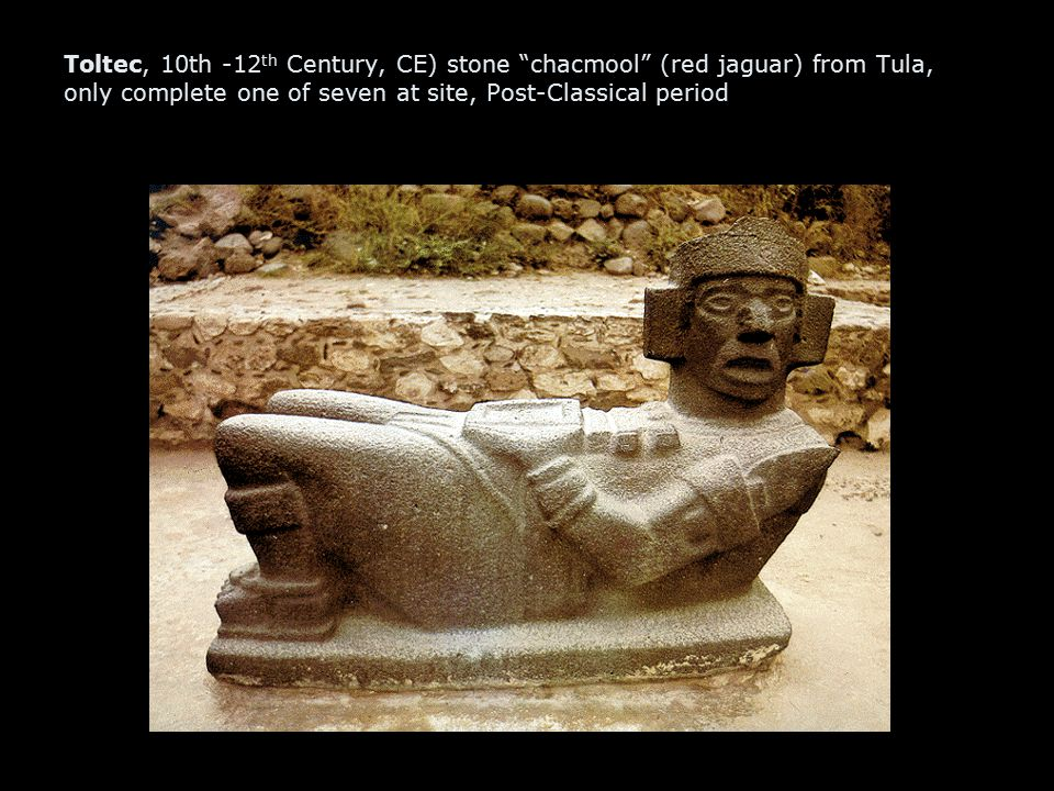 Toltec, 10th -12th Century, CE) stone chacmool (red jaguar) from Tula, only complete one of seven at site, Post-Classical period