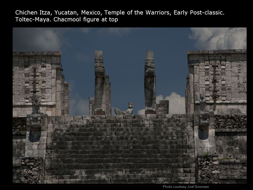 Chichen Itza, Yucatan, Mexico, Temple of the Warriors, Early Post-classic. Toltec-Maya. Chacmool figure at top