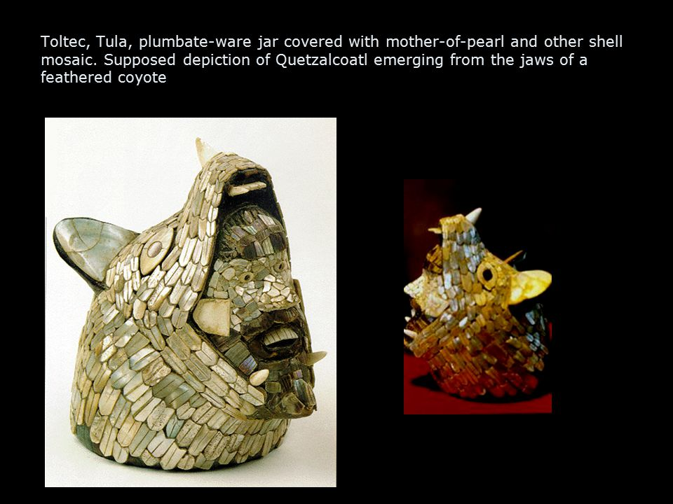 Toltec, Tula, plumbate-ware jar covered with mother-of-pearl and other shell mosaic.