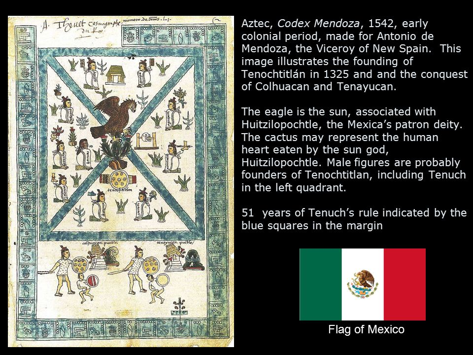 Aztec, Codex Mendoza, 1542, early colonial period, made for Antonio de Mendoza, the Viceroy of New Spain. This image illustrates the founding of Tenochtitlán in 1325 and and the conquest of Colhuacan and Tenayucan. The eagle is the sun, associated with Huitzilopochtle, the Mexica's patron deity. The cactus may represent the human heart eaten by the sun god, Huitzilopochtle. Male figures are probably founders of Tenochtitlan, including Tenuch in the left quadrant. 51 years of Tenuch's rule indicated by the blue squares in the margin