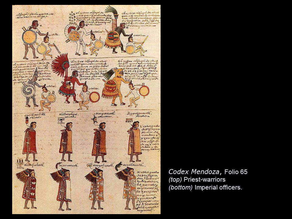 Codex Mendoza, Folio 65 (top) Priest-warriors (bottom) Imperial officers.