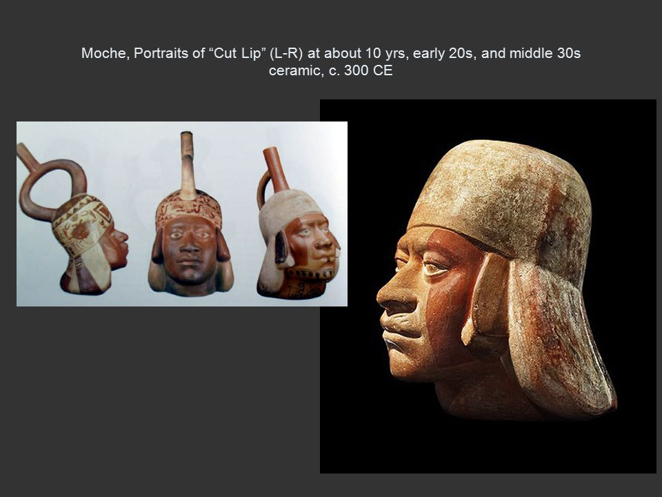 Moche, Portraits of Cut Lip (L-R) at about 10 yrs, early 20s, and middle 30s ceramic, c. 300 CE