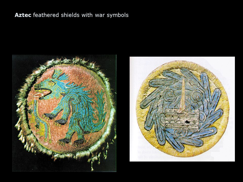 Aztec feathered shields with war symbols