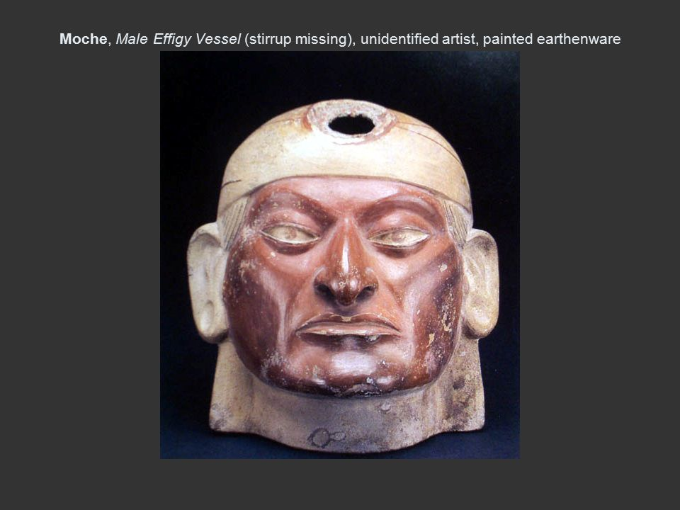 Moche, Male Effigy Vessel (stirrup missing), unidentified artist, painted earthenware 4 in H, A.C.