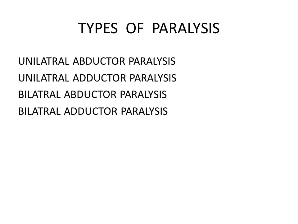 TYPES OF PARALYSIS UNILATRAL ABDUCTOR PARALYSIS