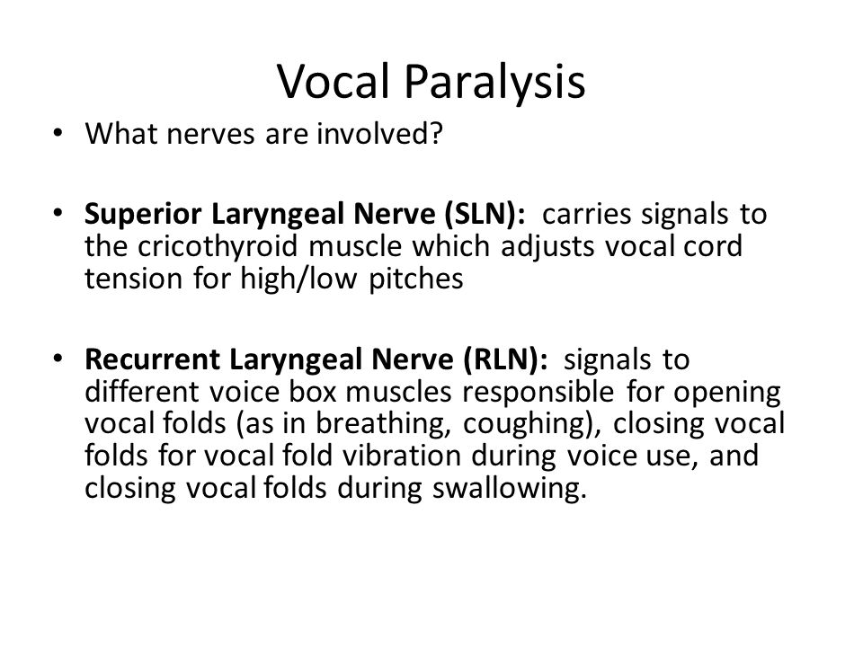 Vocal Paralysis What nerves are involved