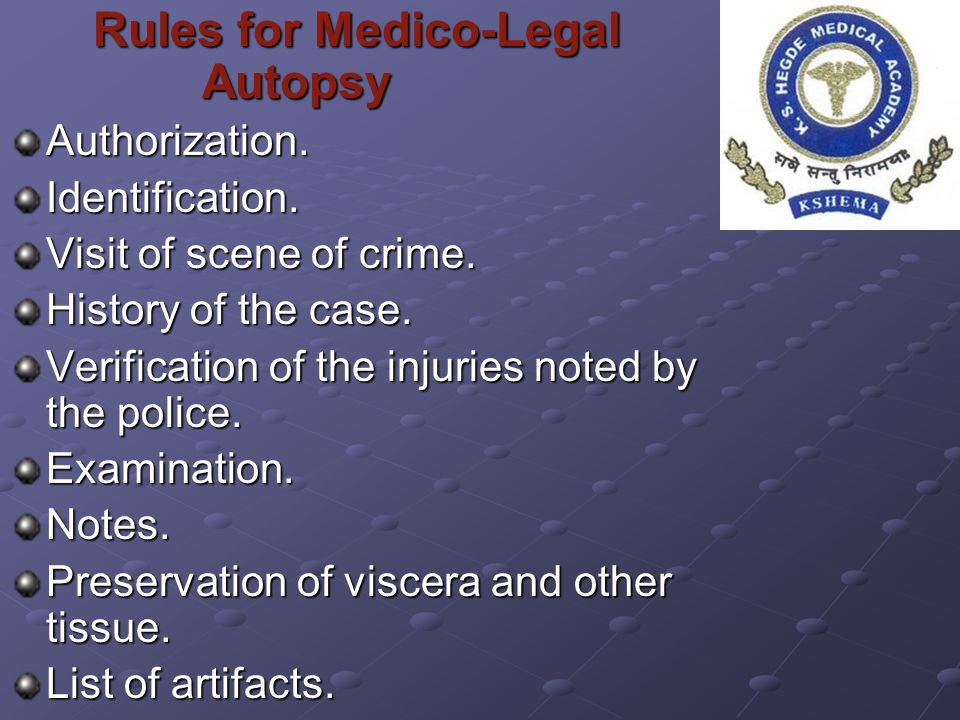 Rules for Medico-Legal Autopsy