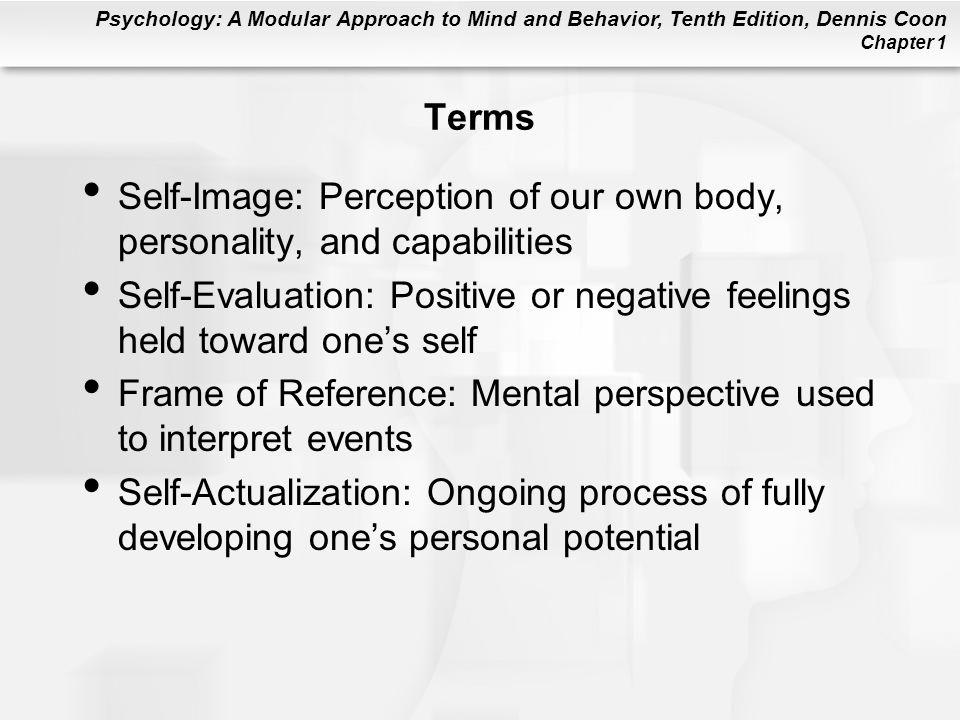 Terms Self-Image: Perception of our own body, personality, and capabilities. Self-Evaluation: Positive or negative feelings held toward one's self.