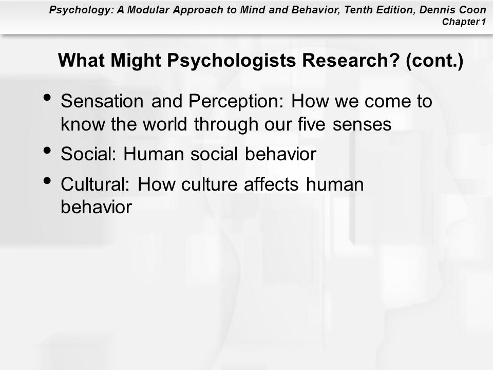 What Might Psychologists Research (cont.)