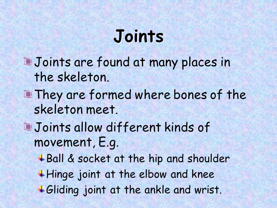 Joints Joints are found at many places in the skeleton.