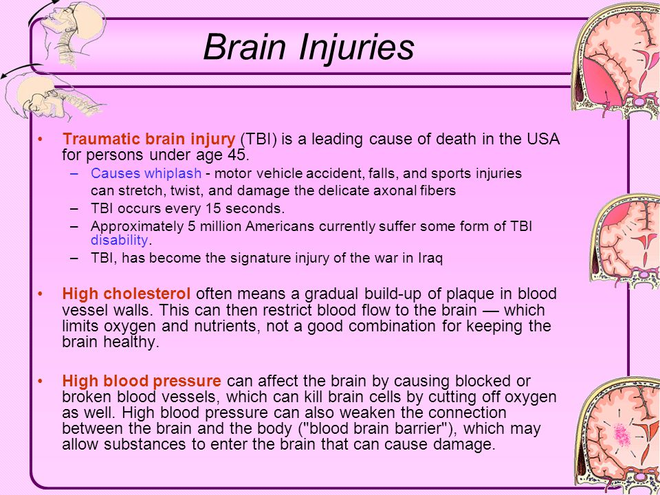 Brain Injuries Traumatic brain injury (TBI) is a leading cause of death in the USA for persons under age 45.
