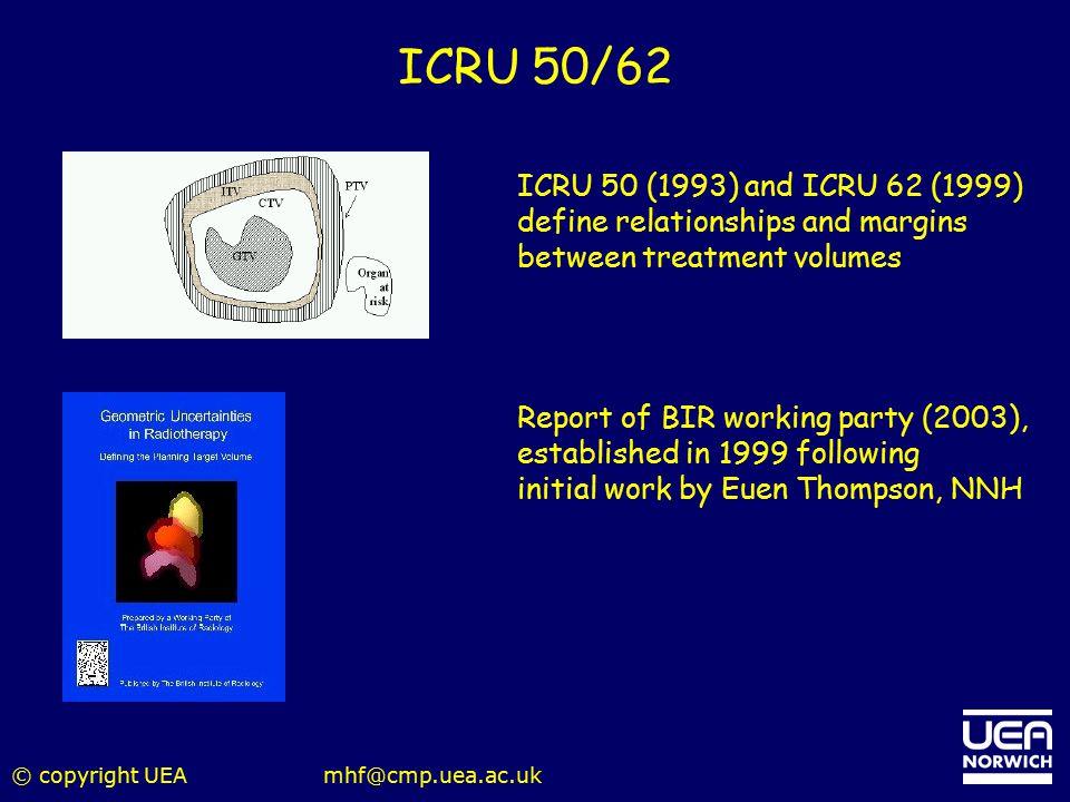 ICRU 50/62 ICRU 50 (1993) and ICRU 62 (1999)