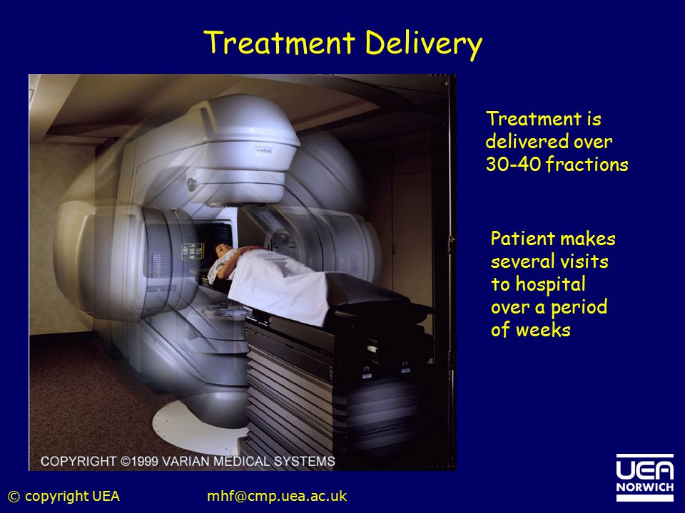 Treatment Delivery Treatment is delivered over 30-40 fractions