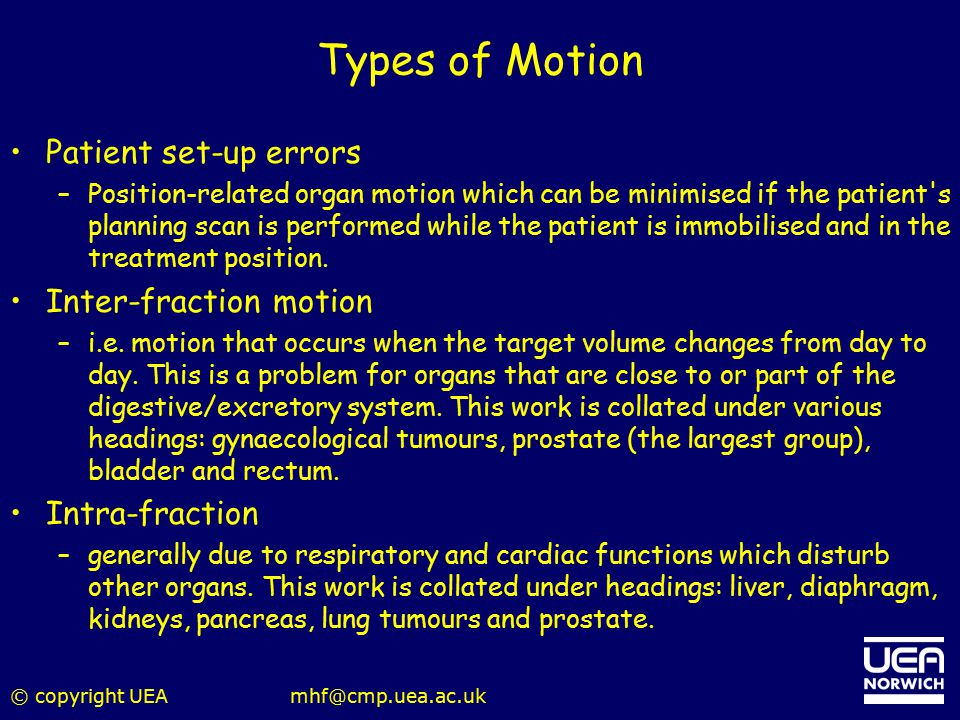 Types of Motion Patient set-up errors Inter-fraction motion