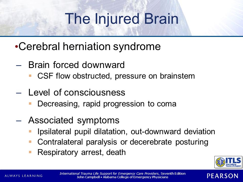 Herniation Syndrome Aggressive therapy needed