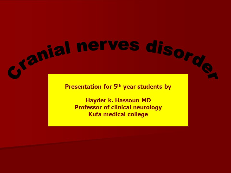 Presentation for 5th year students by Professor of clinical neurology