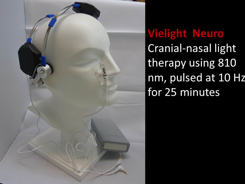 Vielight Neuro Cranial-nasal light therapy using 810 nm, pulsed at 10 Hz, for 25 minutes
