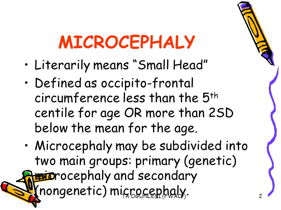 MICROCEPHALY Literarily means Small Head