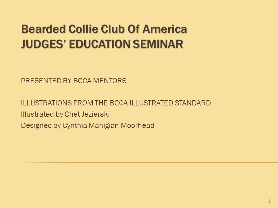 Bearded Collie Club Of America Judges' Education Seminar