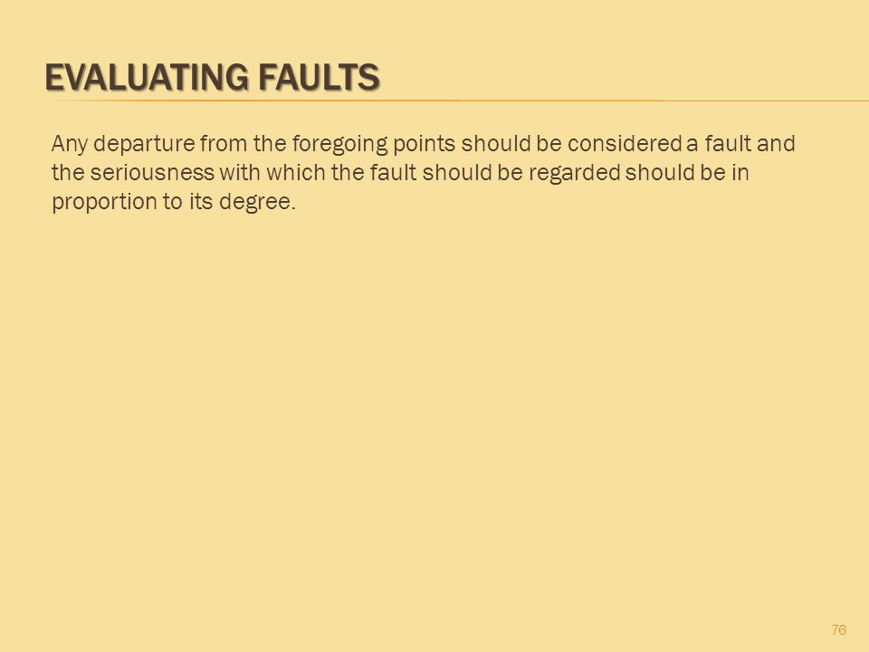 EVALUATING FAULTS