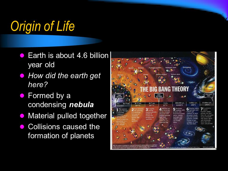 Origin of Life Earth is about 4.6 billion year old